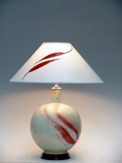 Kim Jin-Hyun porcelain with Cinnabar streaks lamp base