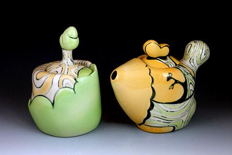 DeBuse teapot and sugar bowl