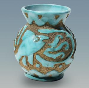 Mid Century Italian Pottery Vase Abstract Fish Carved
