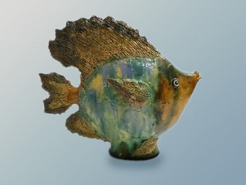 Vintage Majolica sun fish