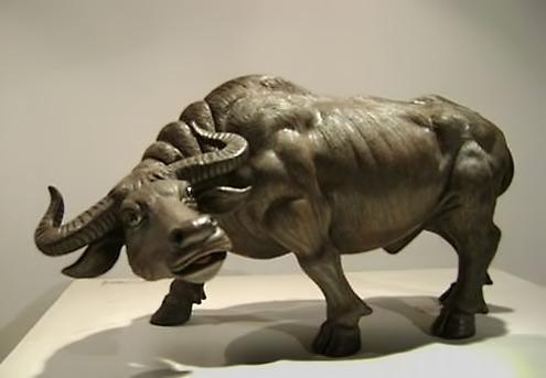 Shiwan pottery water buffalo sculpture
