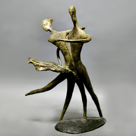 Bronze dance couple figurines sculpture