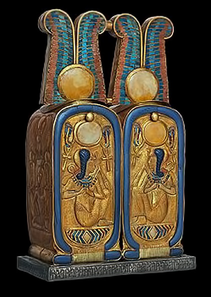 Double container in shape of double cartouche from tomb of Tutankhamun