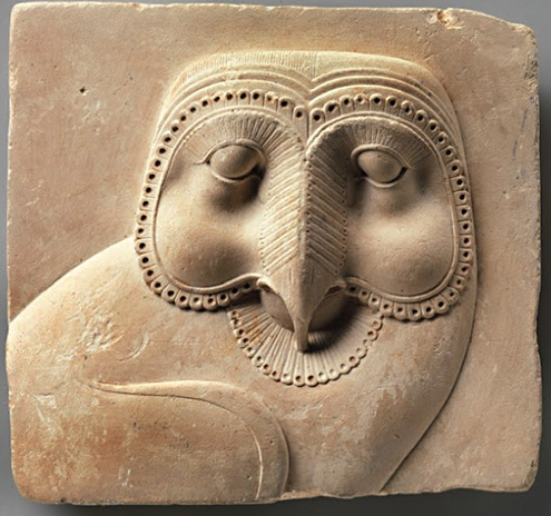 Egyptian-owl Relief plaque with face of an owl