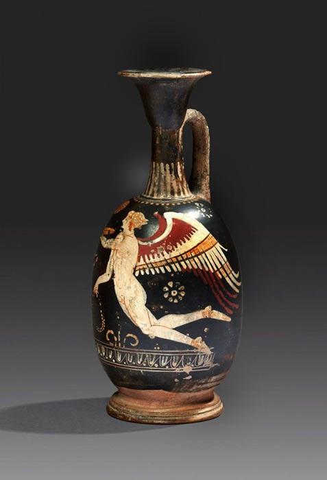 Gnathian black glazed terracotta lekytos depicting-Eros.-Magna-Graecia
