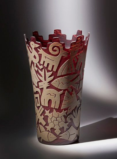 Red and white vase - Jody Naranjo and Preston Singletary Collaboration---Blue Rain Gallery