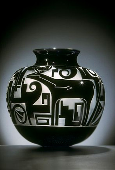 Preston Singletary & Tammy Garcia-2008-~-sandcarved glass in black and white
