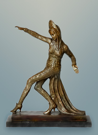 C.MIRVAL,bronze art deco dancing girl sculpture