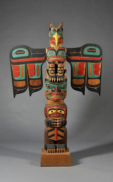 North West Indian Totem pole sculpture - Skinner