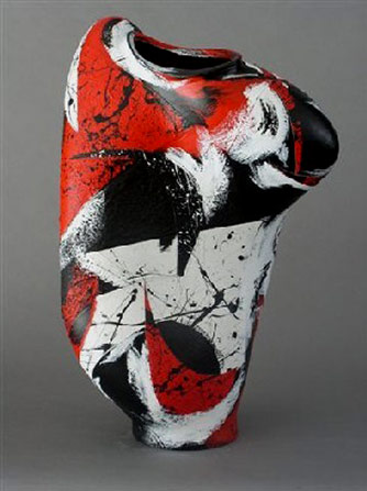 """Abstract Dancer"" Raku Vessel. Michael Gustavson"