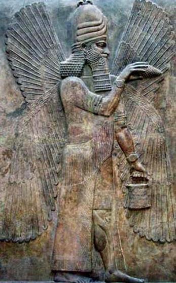 carving of an Anunnaki, an ancient Mesopotamian deity of the underworld