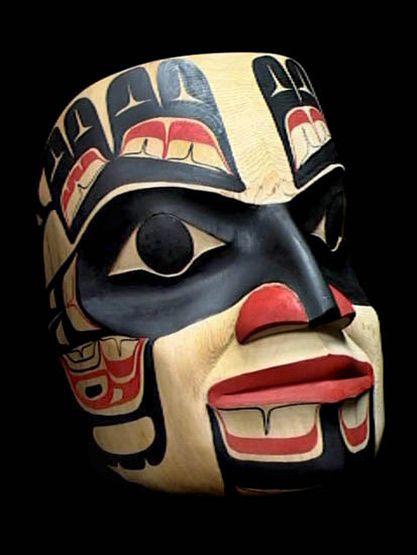 American North West Coastal Indian Traditional Mask painted in black, white and red