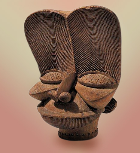 Wood carved mask from Cameroon Savannah