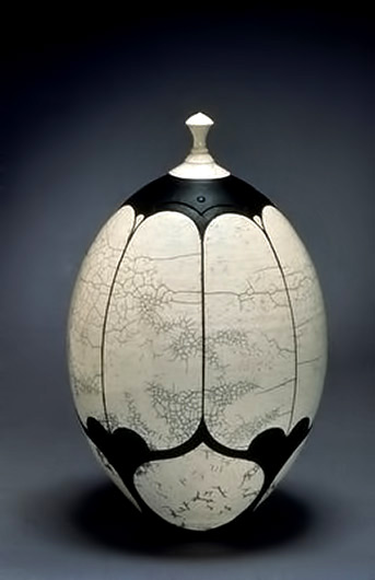 black and white raku jar Andy Smith
