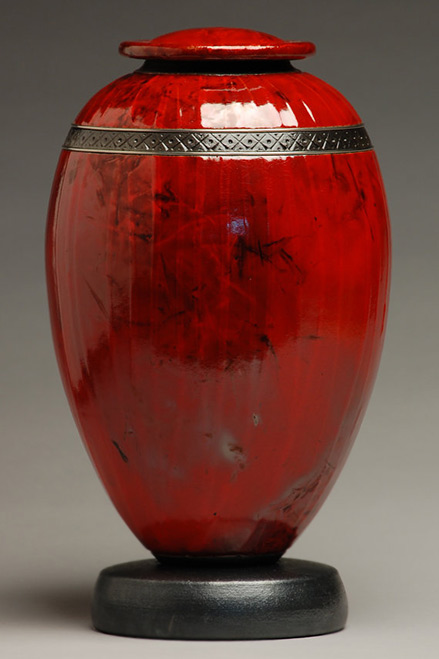 Ceramic Classic Red Raku Urn - elementalurns