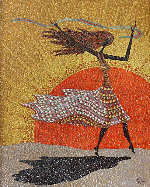Morning Breezes by Linda Biggers-eggshell mosaic