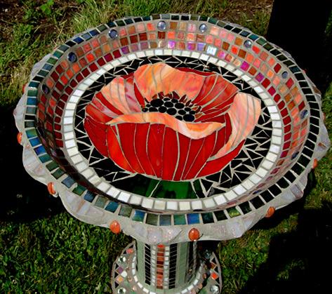 Showcase Mosaics Mosaic Birdbath--Carl and Sandra Bryant