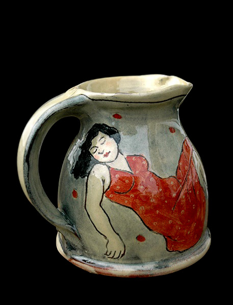 Small jug with sleeping women decoration by Louise Gardelle