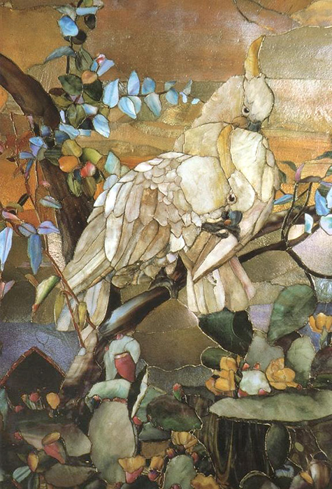 Tiffany Studios, Mosaic Panel. Sulphur Crested Cockatoos