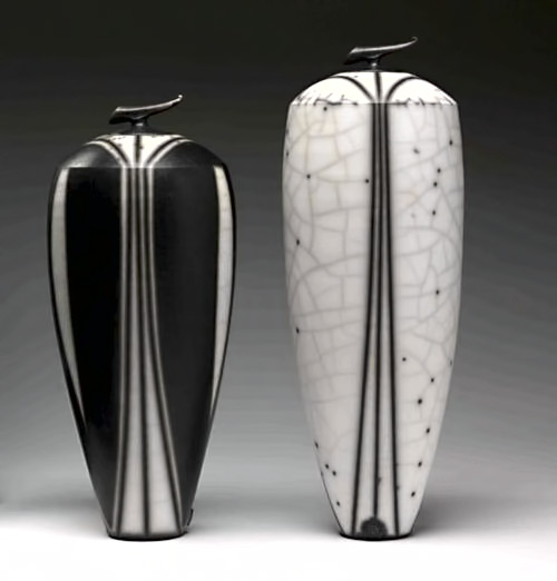 Tim AndrewsTall black and white raku vessels- Tim Andrews