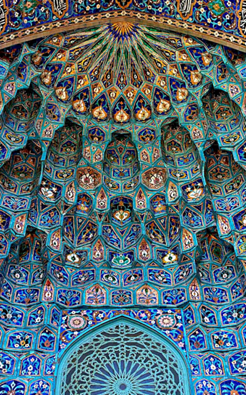 Mosque-decoration-golden-age-of-islam- Arabic mosaic of ancient mosque in Saint Petersburg,
