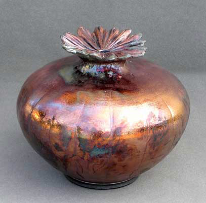 raku-078 Christopher Mathie Hand thrown & Sculpted Raku Poppy Vessel