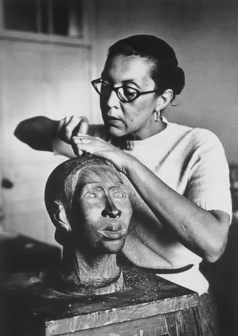 African American Sculptor Elizabeth Catlett working in Mexico City, c. 1947
