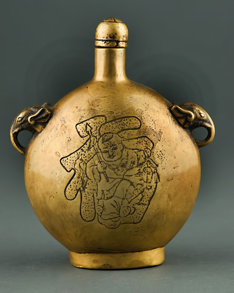 Chinese-Bronze-Snuff-Bottle-Cast-Auspicious-Fu-Boy