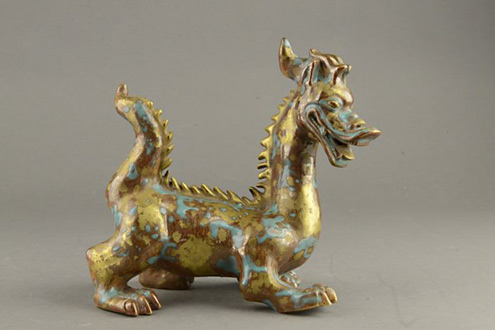 Chinese-Gilt-Bronze-Dragon-Figure-w-Blue-Splashes