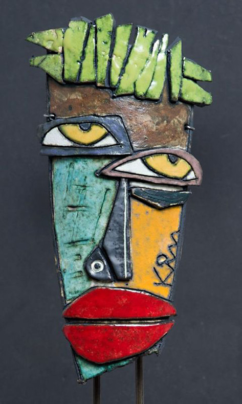 "Kimmy Cantrell - "" Green Hair "" abstract ceramic"