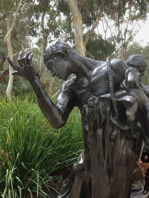 'Pierre de Wiessant'-from the burghers of Calais by Auguste Rodin---Sculpture Garden National Gallery of Australia,-Canberra