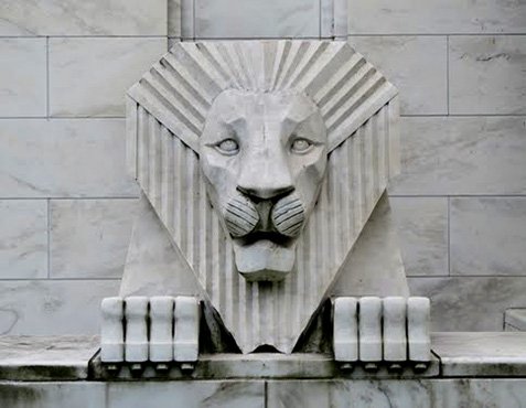Art-Deco-Stone-Lion,-Cedar-Rapids,-Iowa.-Photo-by-Buck-Cash.