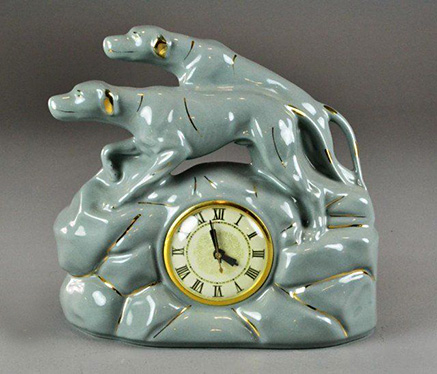 Art-Deco-Toozoo-Ceramic-Dog-Electric-Clock