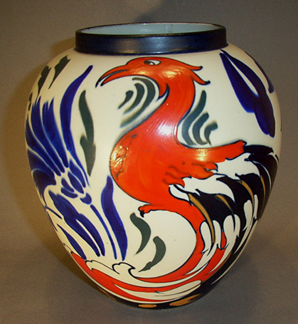 Frederick-Rhead-Phoenix-vase-for-Wardle,-c