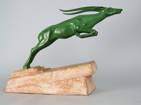 Leaping-Ibex-by-De-Marco-A-French-art-metal-deer,-made-by-the-Le-Verrier-foundry-during-the-1930