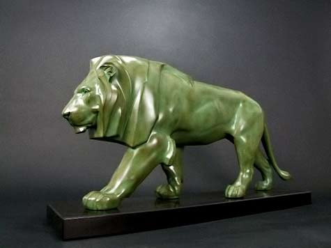 Green Art Deco Lion-by-Le-Verrier-