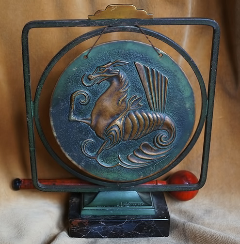 Max-Le-Verrier-French-Art-Deco-Dinner-Gong-with-Dragon,-Bronze,-Marble-c-1930