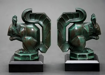 Art Deco Squirrel bookends Art Bronze