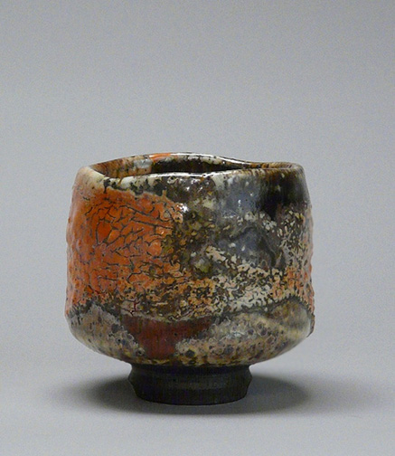 Tom Coleman stoneware,-carbon-trap-shino,-orange-crackle,-red-dot,-carbon-trap,-reduction