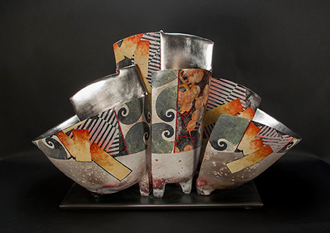 Contemporary ceramic sculpture Triple on Base - Bennett Bean
