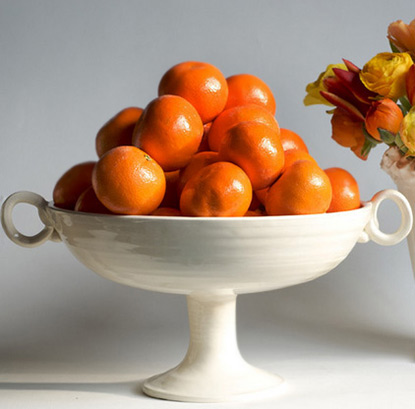 White porcelain fruit bowl with oranges Frances Palmer