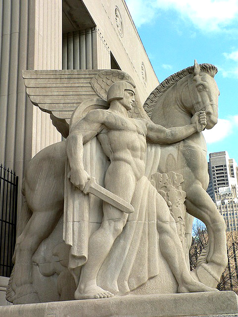 Warrior-and-winged-horse,-war-memorial,-St Louis