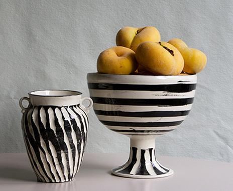 frances Palmer black/white vase and compote