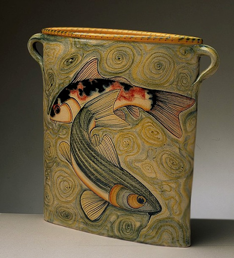 Adrian-Brough,-U.K - twin handled vase with swimming fishes motif