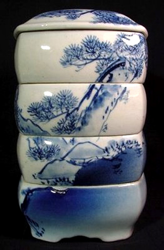 Antique Japanese 19thC-Meiji Jubako Stacking Porcelain Serving Bowls - Seto-Ware