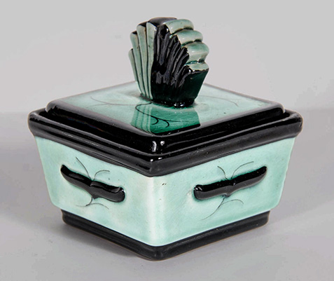 Art Deco Ceramic Box by Ilse Claussen for Rorstrand of Sweden
