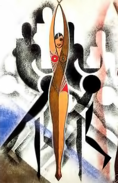 Jazz-age-cubist josephine baker poster