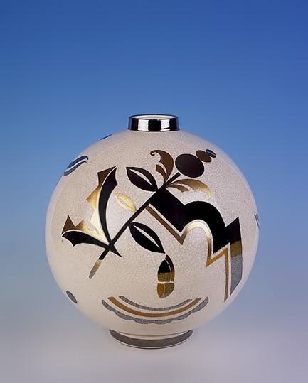 Josef-HERBE jazz age spherical ceramic vase