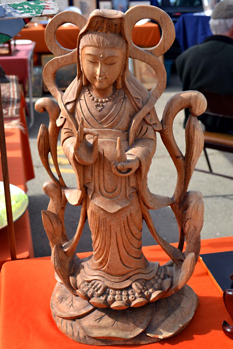 Alameda-Point-Antiques-Faire--- Quan Yin woodcarving