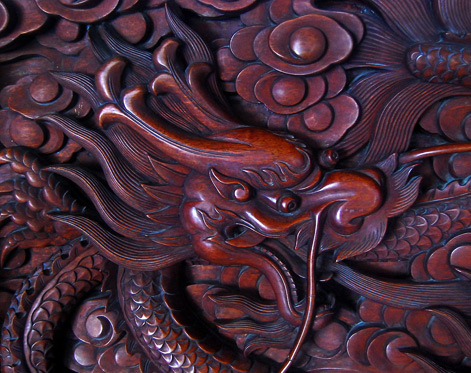 Dragons- Illustrated Monthly carved wood dragon